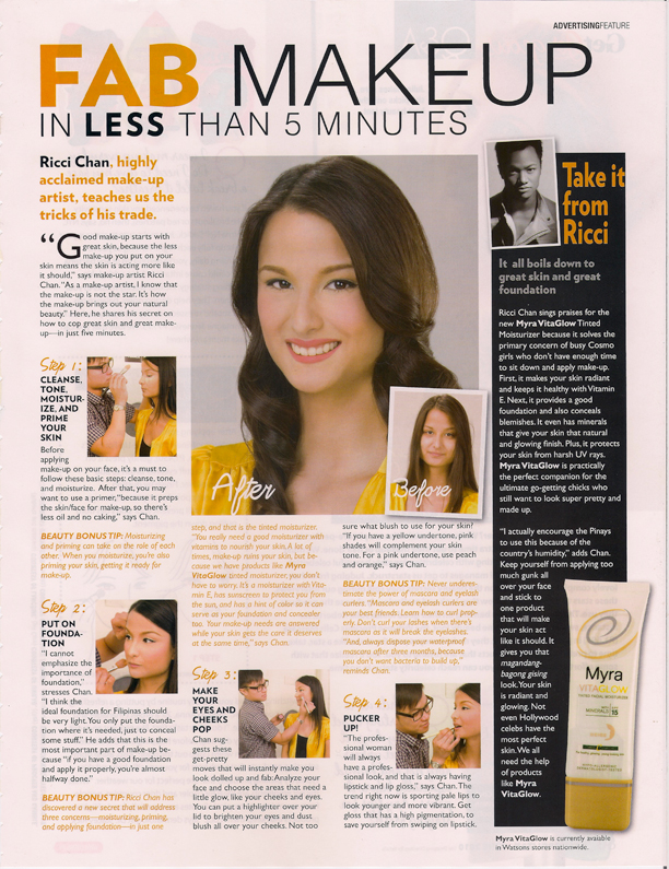 Myra Vita Glow feature Cosmo Philippines June 2010